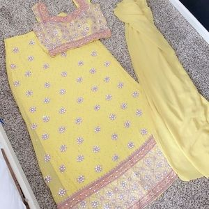 Yellow and pink lengha